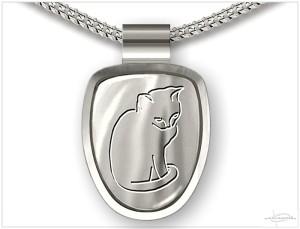 Zilveren ashanger kat