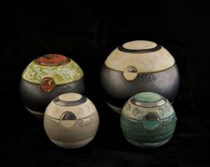 Mini urn in keramiek met pootafdruk