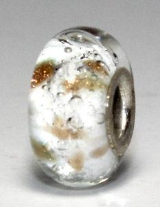 Juweel glas askraal bead wit 6