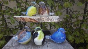 Mini urn glas vogel