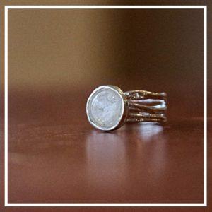 Bol getextureerde ring zilver