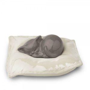 Urn kat kussen wit-grijs